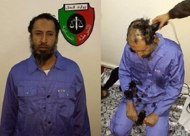 الساعدي القذافي بعد تسليمه للسلطات الليبية