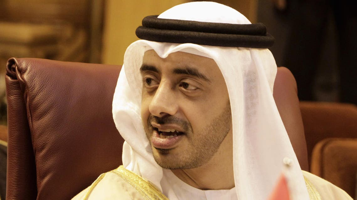 United Arab Emirates Minister of Foreign Affairs Sheikh Abdullah bin Zayed Al Nahyan attends an Arab League Foreign Ministers emergency meeting reut