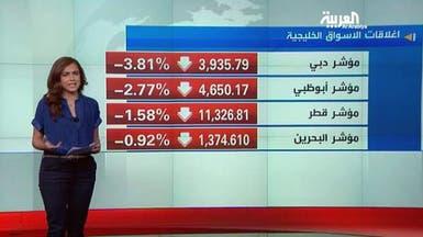 """خسائر """"حادة"""" تجتاح أسواق الخليج .. ودبي تتراجع 3.8%"""