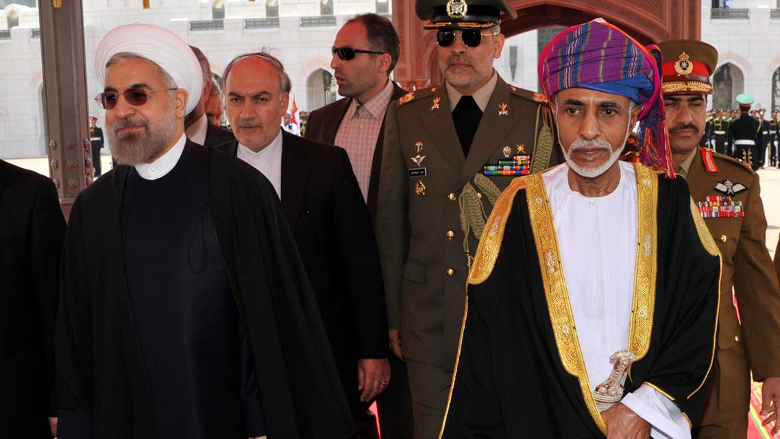 Iranian President Hassan Rowhani met with Oman's Sultan Qaboos bin Said (pictured right)  on his first visit to Muscat since his election last year. (Reuters)