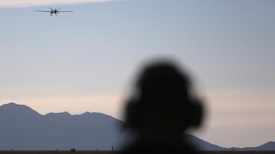 A US predator drone takes off for a surveillance flight near the Mexican border on March 7, 2013 (AFP
