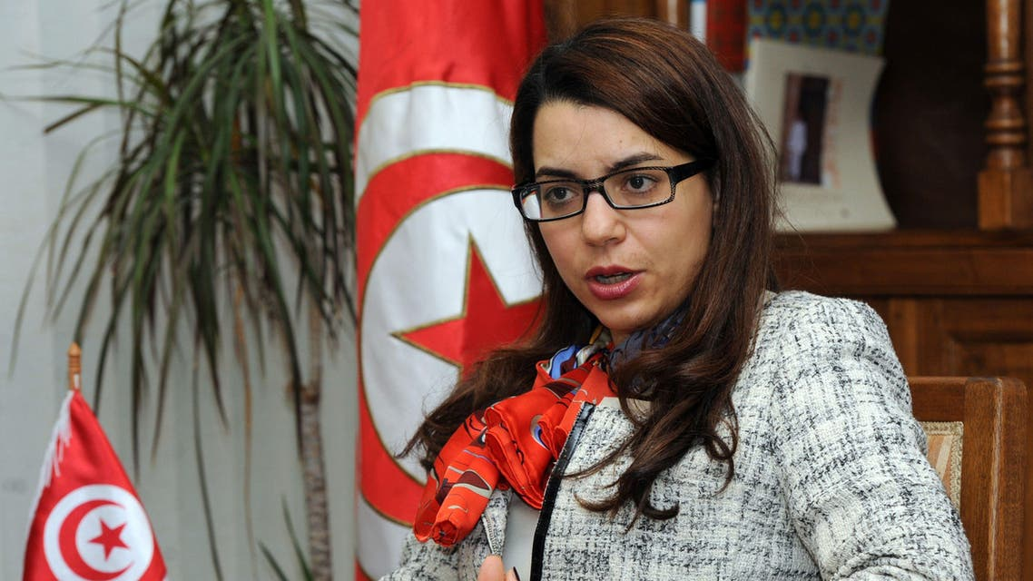 unisian Minister of Tourism Amel Karboul gestures during an interview with foreign media on March 14, 2014 in Tunis. (AFP)