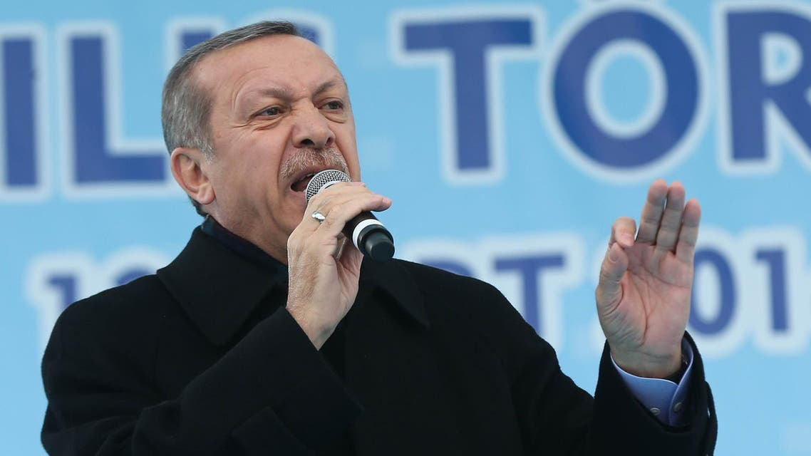 Turkey's Prime Minister Recep Tayyip Erdogan delivers a speech during the opening ceremony of a new metro line in Ankara March 13, 2014. afp