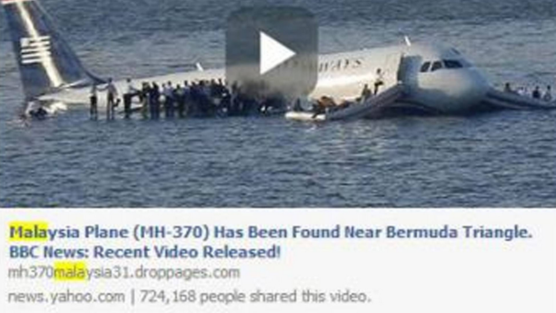 Articles posted to Facebook carry fake headlines about the lost Malaysian jet. (Image courtesy: The Independent)