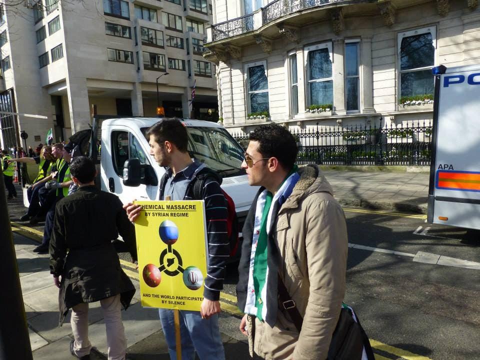 تظاهرة كبيرة في لندن إحياءاً لذكرى الثورة السورية