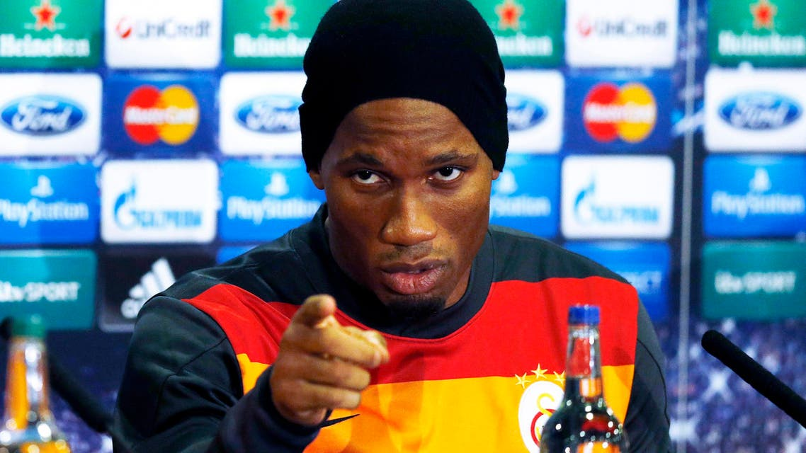Galatasaray's Didier Drogba reacts during a news conference at Stamford Bridge in London March 17, 2014. (Reuters)