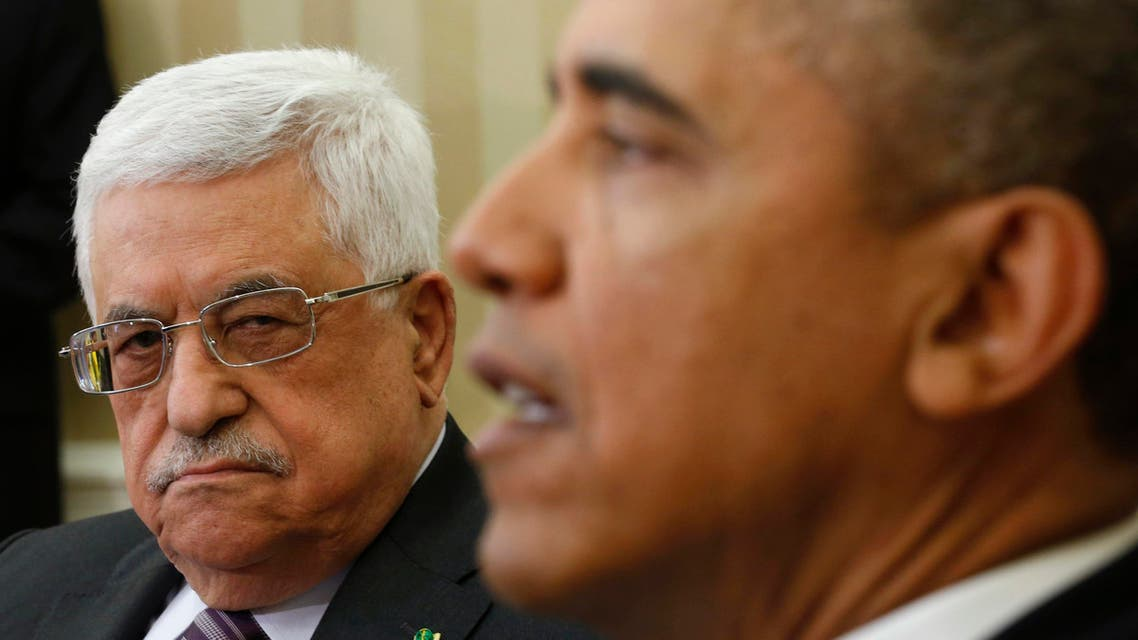 U.S. President Barack Obama meets with Palestinian Authority President Mahmoud Abbas (L) at the White House in Washington March 17, 2014. reuters