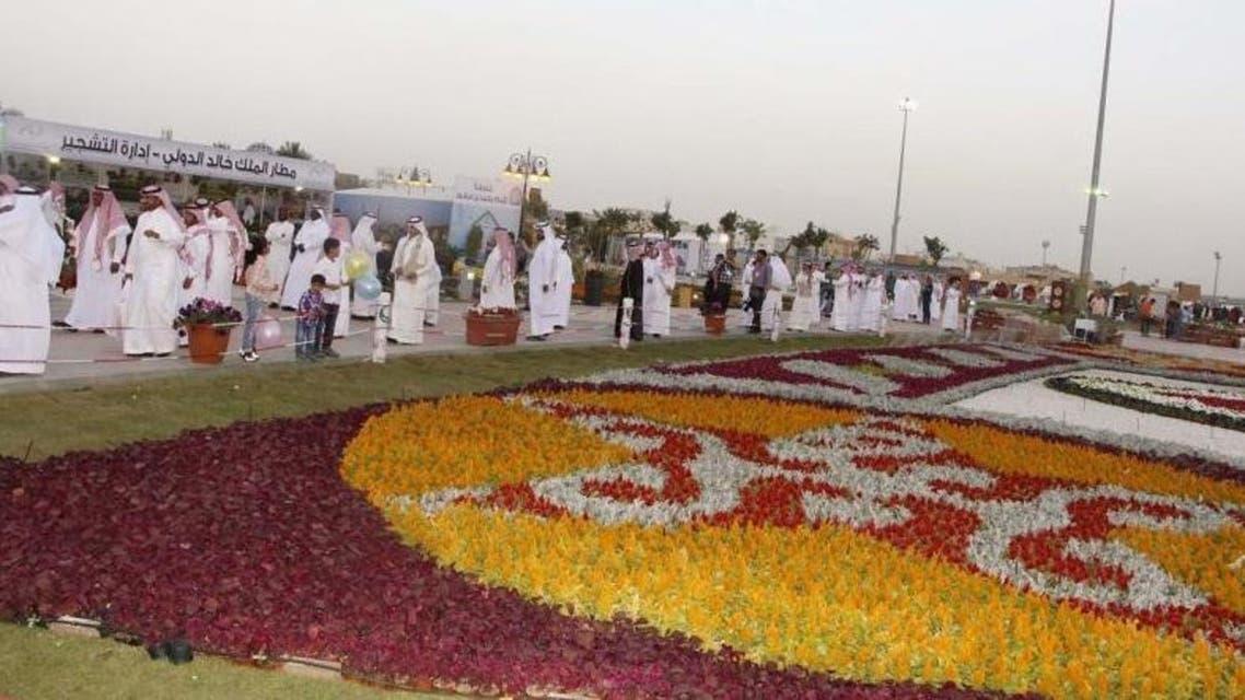 جانب من سجادة الزهور المعروضة في مهرجان ربيع الرياض
