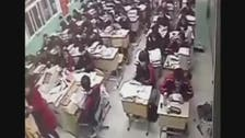 بالفيديو .. تلميذ صيني ينتحر أمام زملائه في الصف