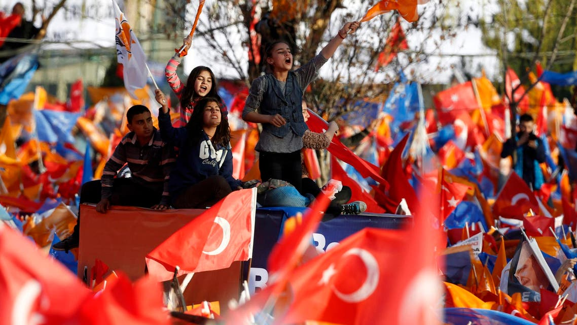 Erdogan supporters in election rally