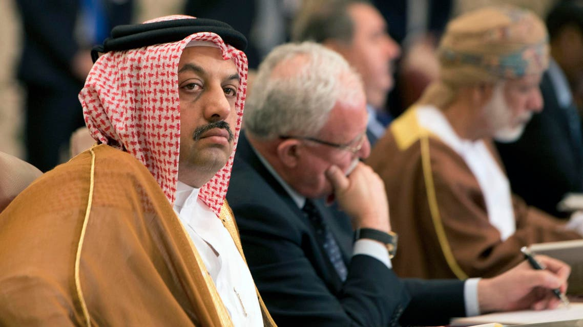 Qatar's Foreign Minister Khaled al-Attiyah (L) attends the preparatory meeting of Arab Foreign Ministers in Kuwait City March 23, 2014. (Reuters)