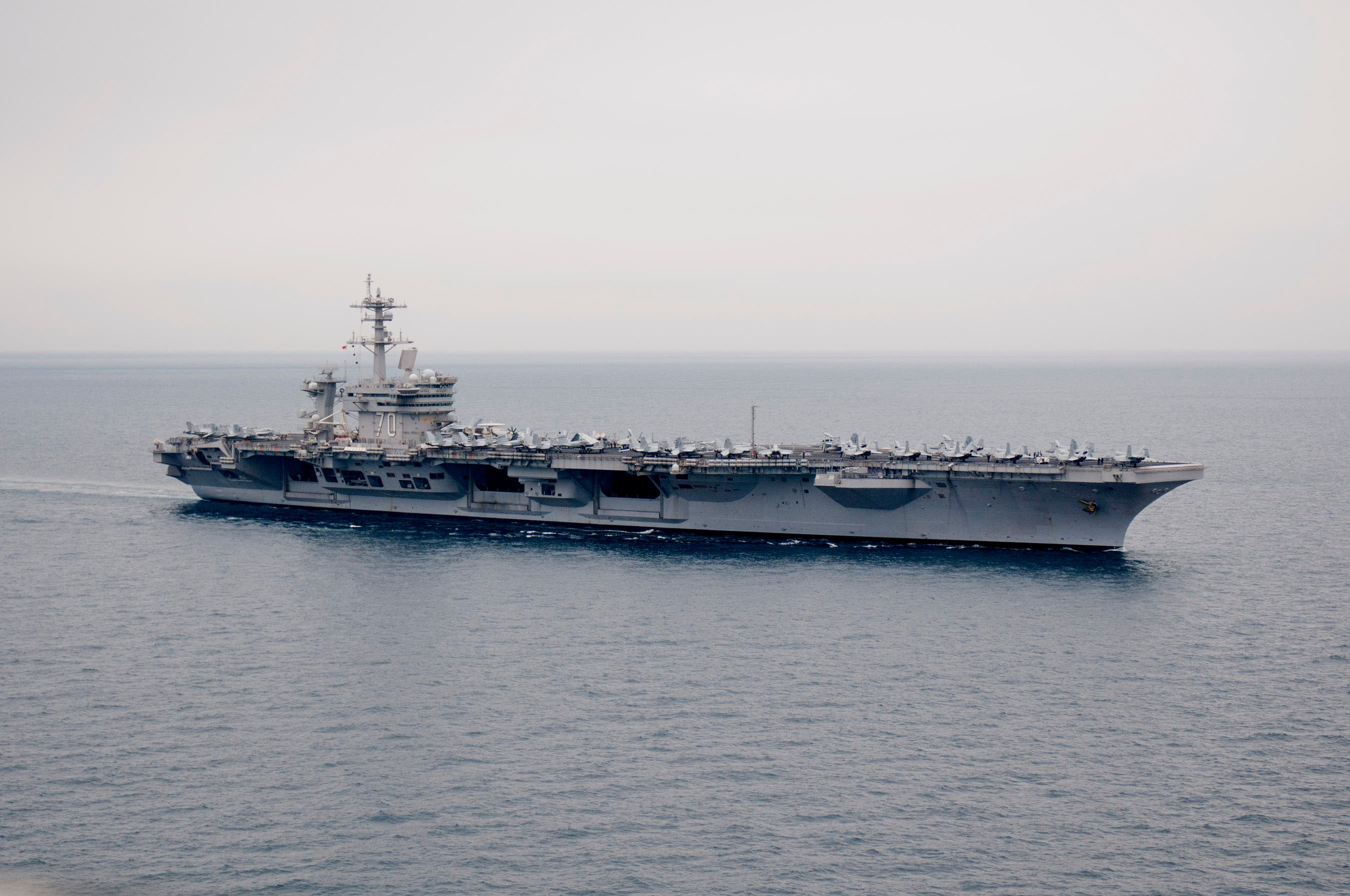 The Nimitz-class aircraft carrier U.S.S. Abraham Lincoln in April 2012.  Iran has reportedly built a mock-up in one of its shipyards. (reuters)