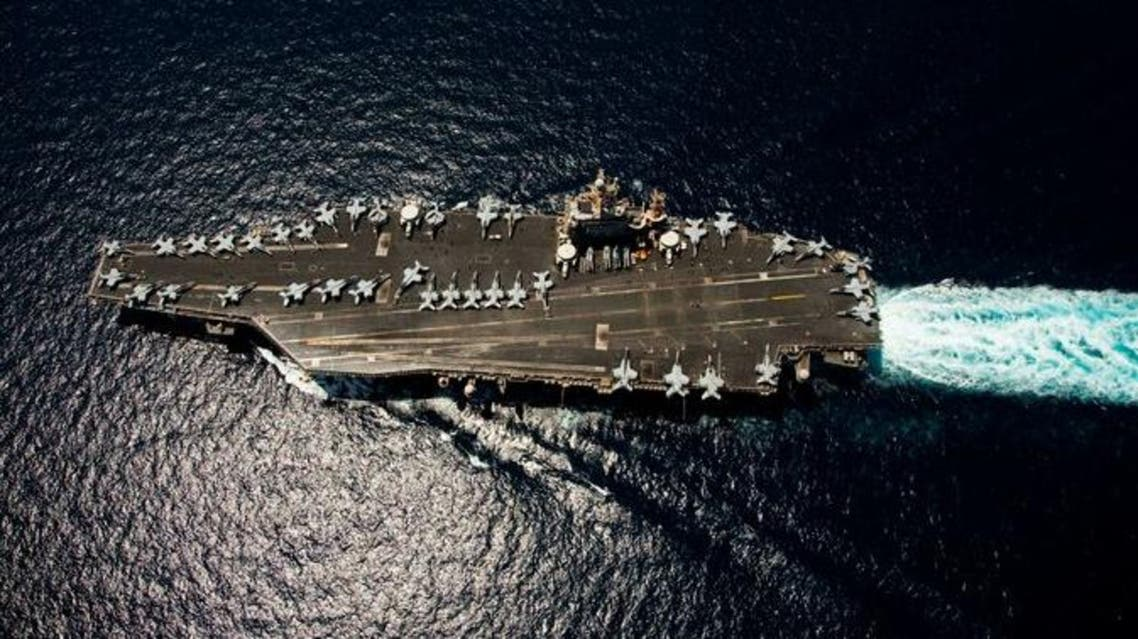 The Nimitz-class aircraft carrier U.S.S. Abraham Lincoln in April 2012.  Iran has reportedly built a mock-up in one of its shipyards. (AFP)