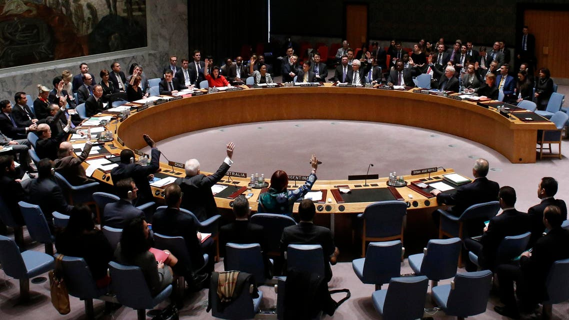 The United Nations Security Council votes on resolution on humanitarian aid for Syria at U.N. headquarters in New York, Feb. 22, 2014. (Reuters)