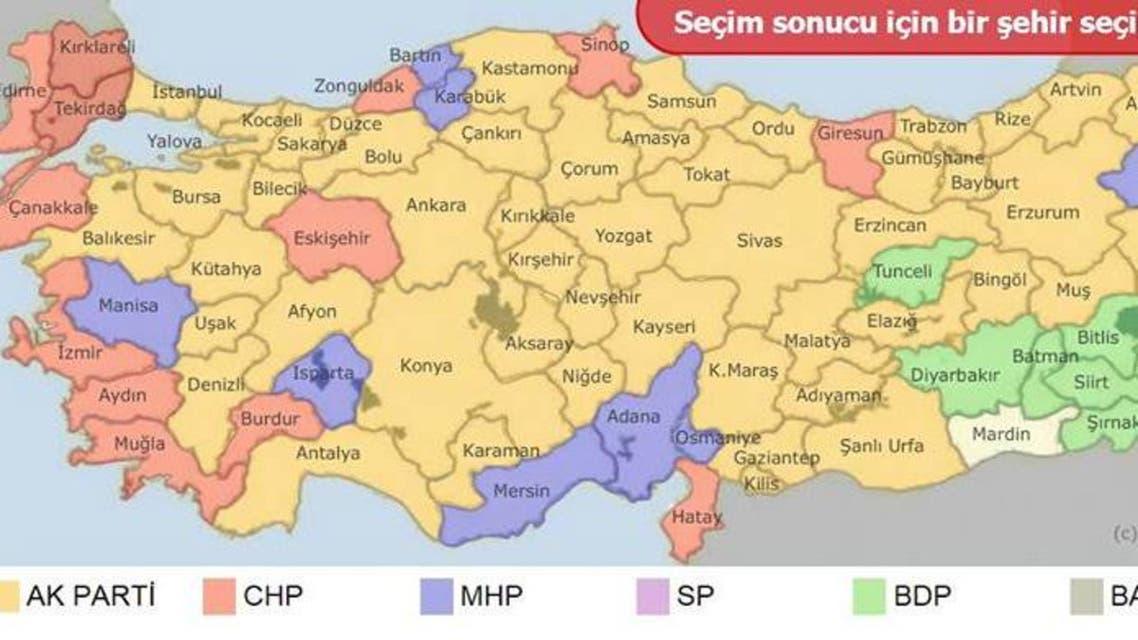 نقشه انتخابات ترکیه