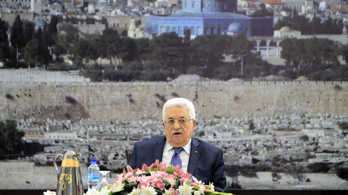 Palestinian president Mahmud Abbas chairs a meeting of the Executive Committee of the Palestine Liberation Organization (PLO)