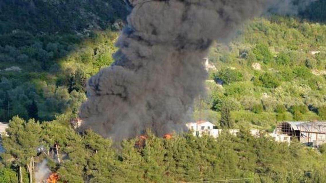 قصف عبى جبل التركمان في اللاذقية في سوريا