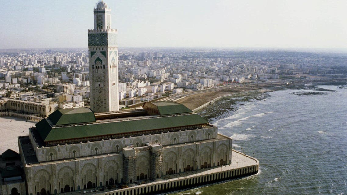 Aerial view of King Hassan II mosque of Casablanca August 27. The Gulf investment will seek to develop infrastructure in the port of Casablanca. (File: Reuters)
