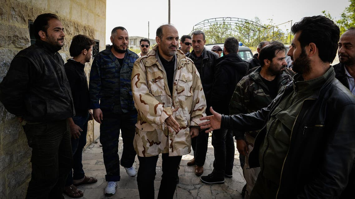 A picture distributed by the office of the Syrian National Coalition (SNC) shows Syria's opposition Chief Ahmad Jarba during his visit to Latakia. (Courtesy: SNC)