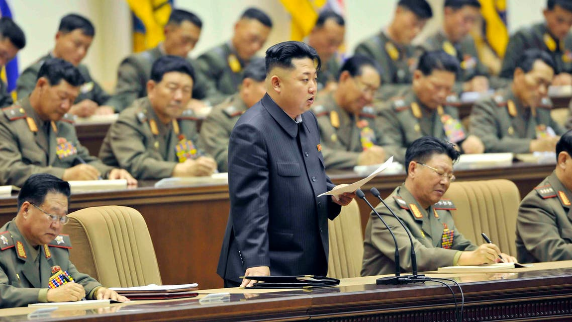 North Korean leader Kim Jong-un speaks during a meeting for the Korean People's Army, in which he heads, in this undated photo released by KCNA in Pyongyang Oct. 25, 2013. (AFP)
