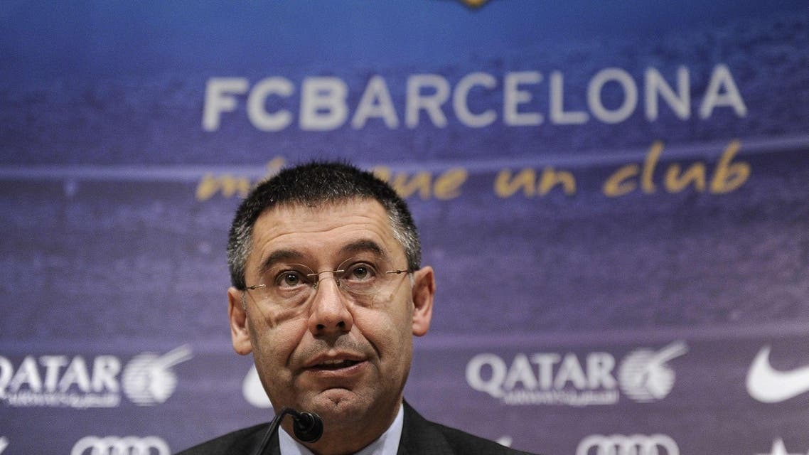 Barcelona's football club president Josep Maria Bartomeu holds a press conference in Barcelona on April 3, 2014 at the Camp Nou stadium in Barcelona. AFP