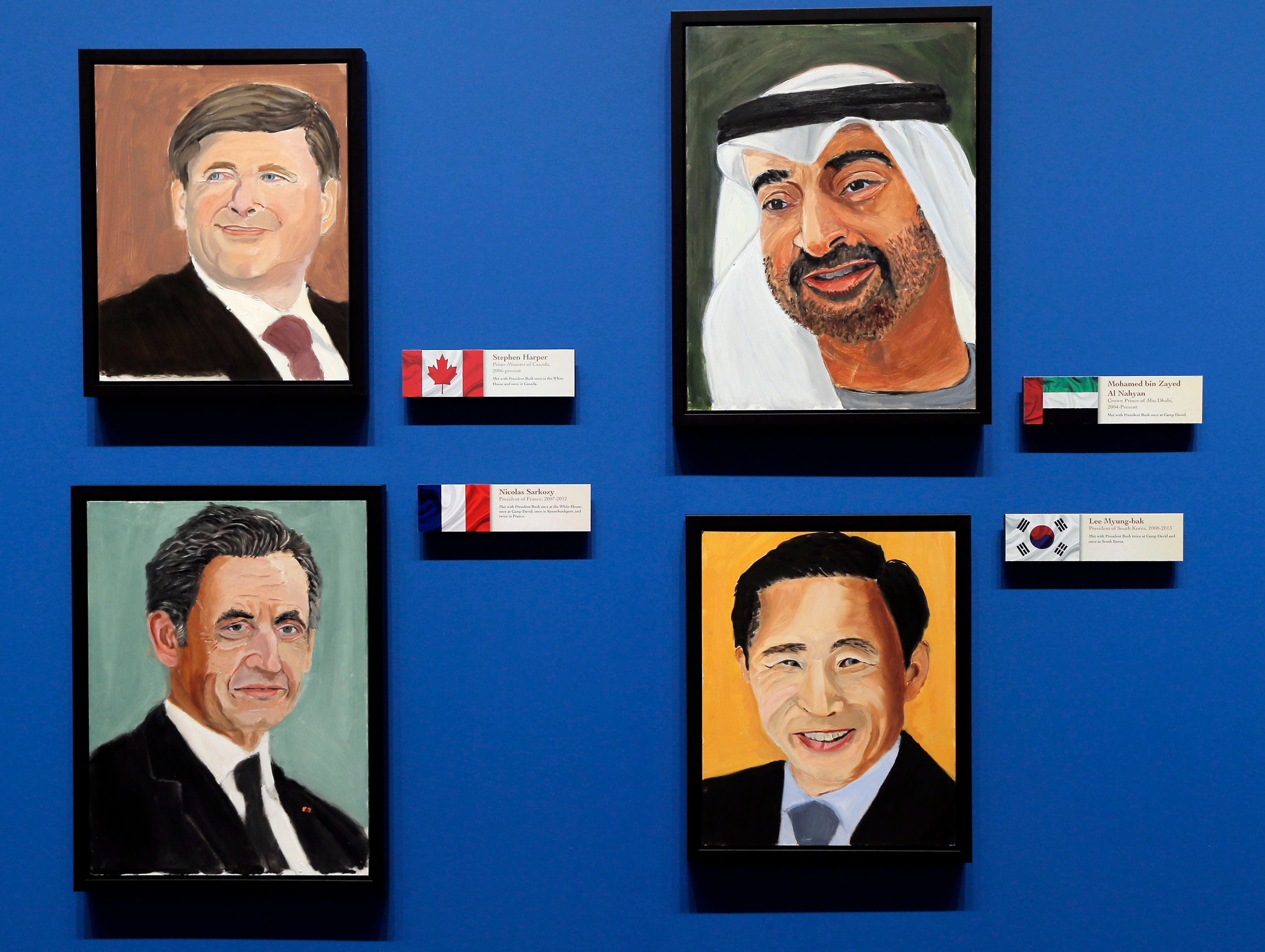 Portraits of world leaders (clockwise from top-left) Canadian Prime Minister Stephen Harper, Crown Prince of Abu Dhabi Mohamed bin Zayed Al Nahyan, former French President Nicolas Sarkozy and former South Korean President Lee Myung-bak. (Reuters)