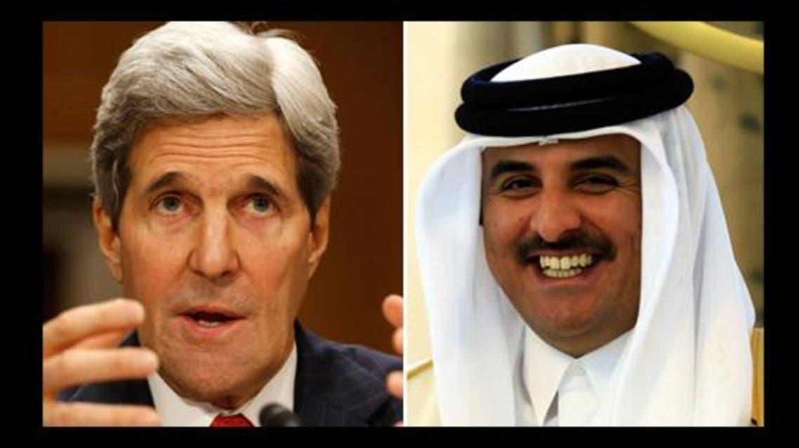 جون كيري وأمير دولة قطر تميم بن حمد آل ثاني