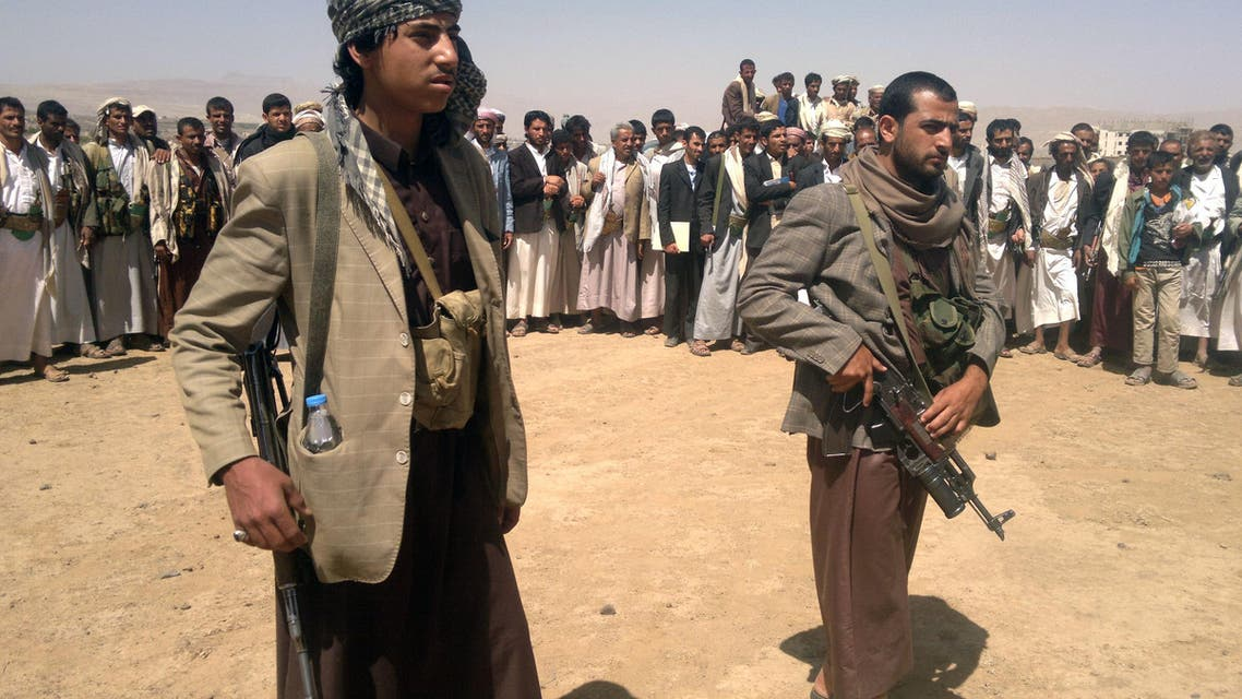 Yemeni Houthi tribesmen gather north of the capital Sanaa on April 10, 2014 as they rally against the death of five people that were killed in fighting between tribesmen and Yemeni soldiers. (AFP)