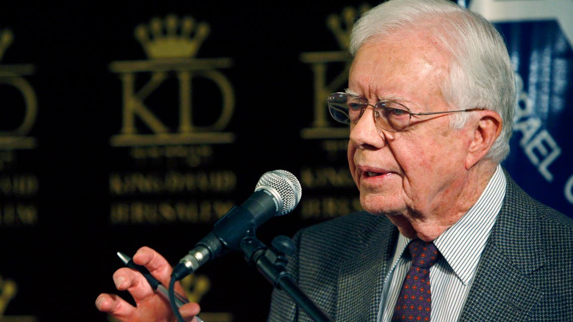 Former U.S. President Jimmy Carter gives a speech in Jerusalem April 21, 2008, after talks in Syria and Egypt with Hamas leaders. (Reuters)
