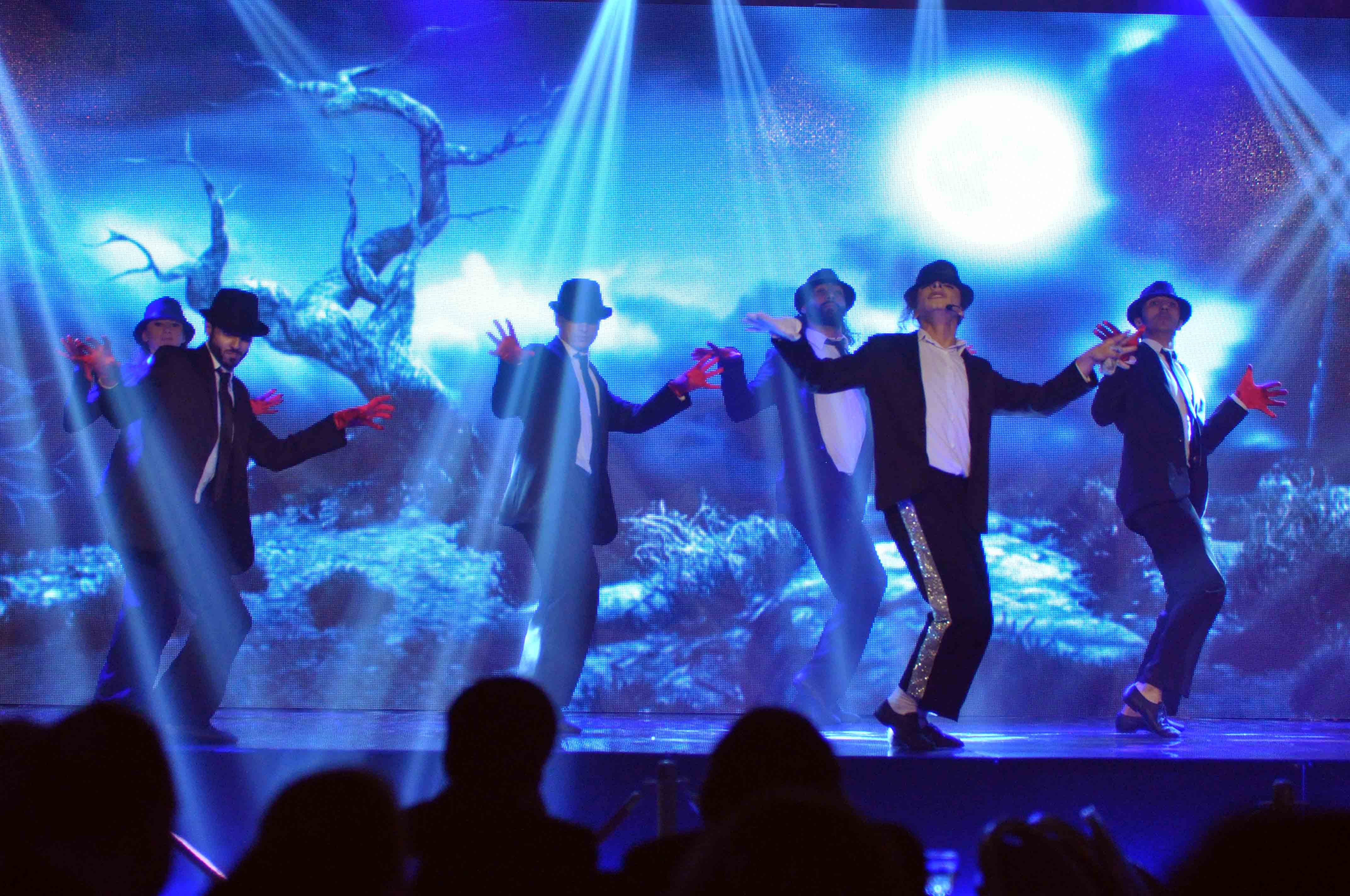 "SIMA Group - winners of 'Arabs Got Talent"" Season 3 - performed a routine impersonating Michael Jackson prior to the press conference. (Image: MBC)"