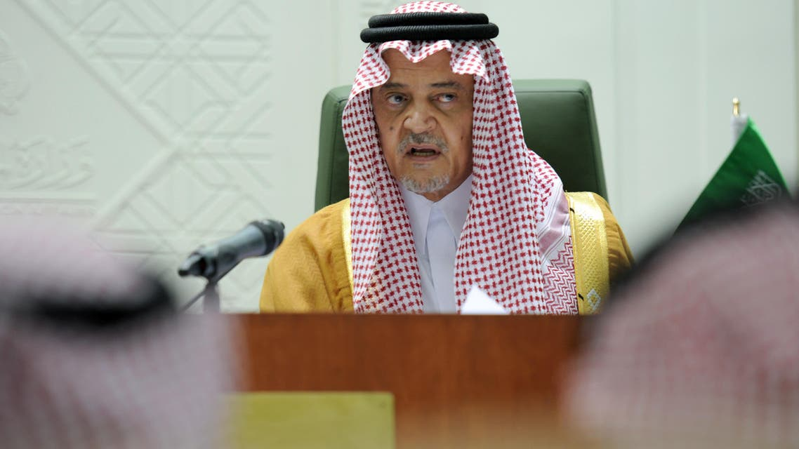 Saudi Foreign Minister Prince Saud bin al-Faisal speaks to reporters during a joint press conference with his Algerian counterpart Ramtane Lamamra (unseen) following their meeting in Riyadh, on April 15, 2014. (AFP)