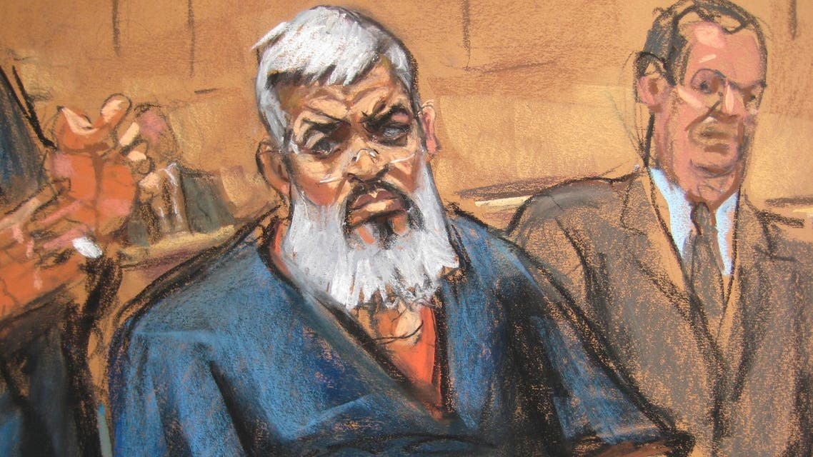 Abu Hamza al-Masri, the radical Islamist cleric facing U.S. terrorism charges, sits with his legal team in Manhattan federal court in New York in this artist's sketch October 26, 2012. (Reuters)