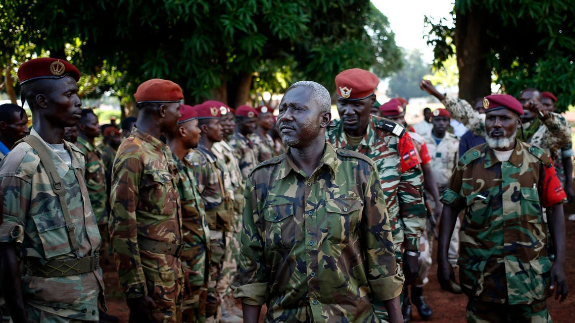 General Mohamed Dhaffane (C), Interim President of the Ex-Seleka coalition talks to Seleka fighters in the town of Bria April 9, 2014. (Reuters)