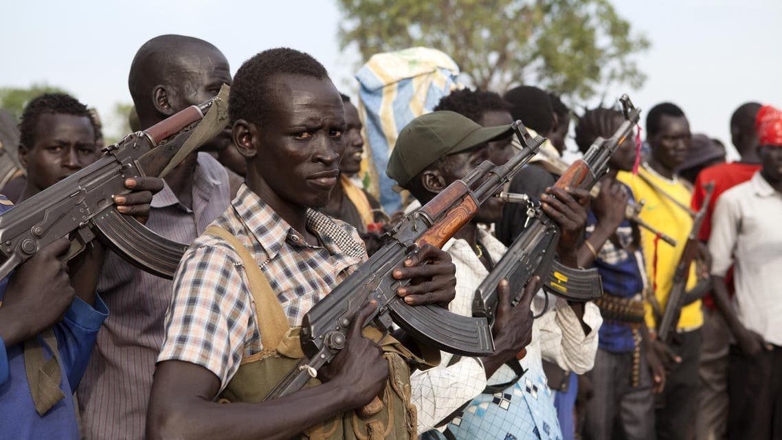 Members of the White Army, a South Sudanese anti-government militia, attend a rally in Nasir on April 14, 2014. AFP