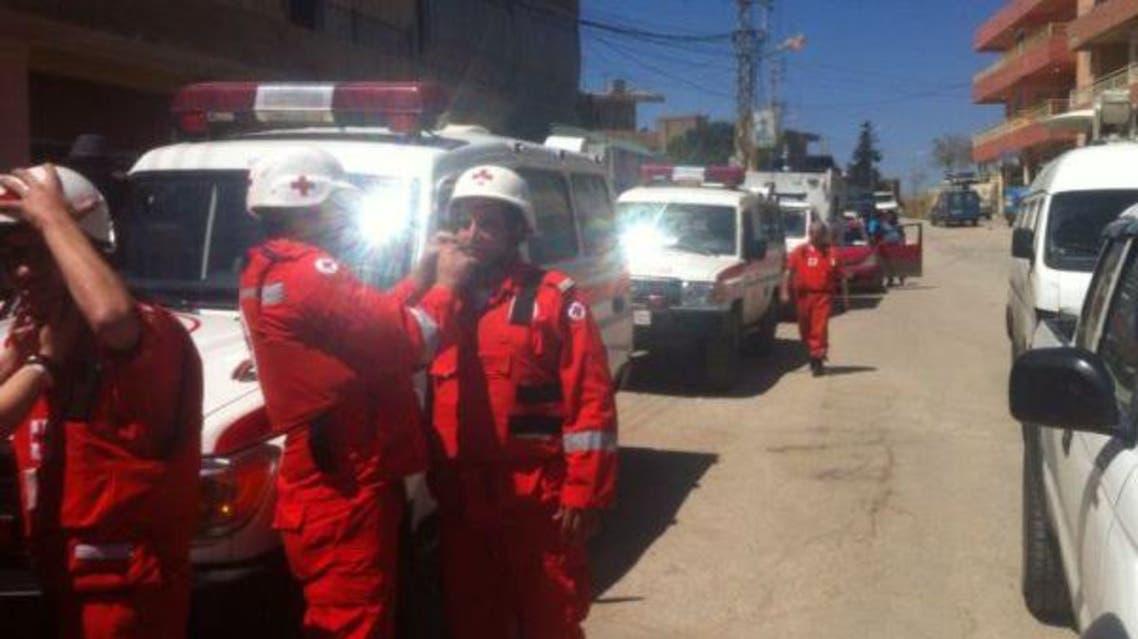 قوافل من مساعدات غذائية وطبية تصل مدينة الطفيل على حدود لبنان مع سوريا