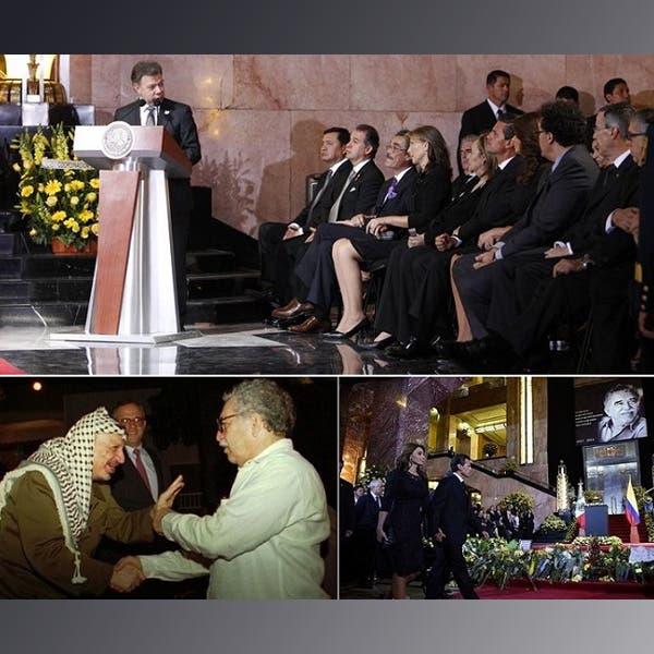 فوق: الرئيس الكولومبي خوان مانويل سانتوس يلقي كلمته،.تحت: الرئيس المكسيكي أنريكي بينيا نييتو وزوجته أنجلينا يصلان الى قاعة التأبين، ثم اللقاء بين ماركيز وعرفات