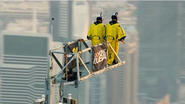 Vince Reffet and Fred Fugen, professional BASE jumpers, performed two base jumps from the top of the 828-meter Burj Khalifa. (Photo courtesy: Gulf News)