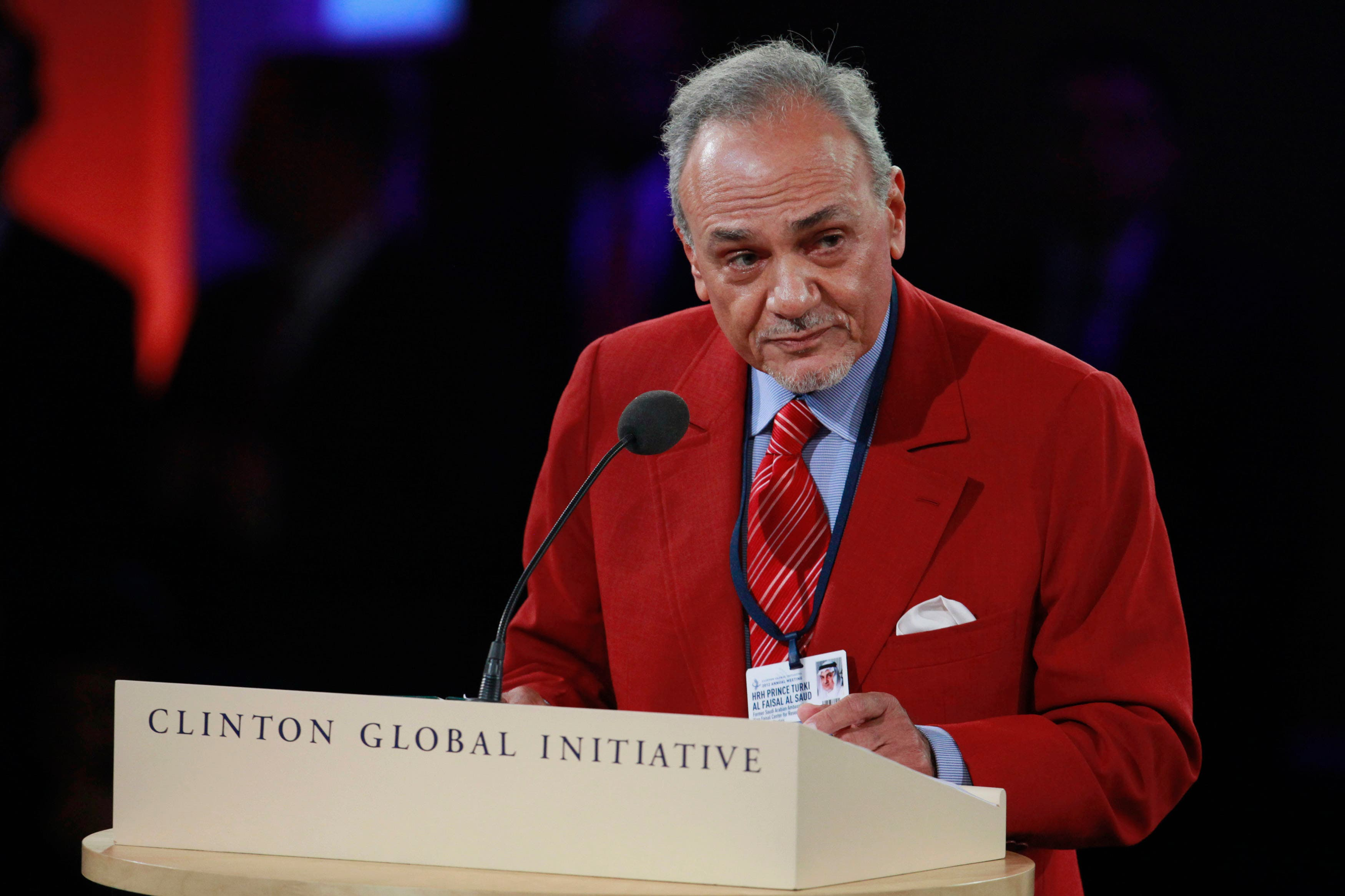 Prince Turki al-Faisal al-Saud of Saudi Arabia, speaks at the closing forum of the Clinton Global Initiative 2012 (CGI) during the final day of the event in New York, Sep. 25, 2012. (Reuters)