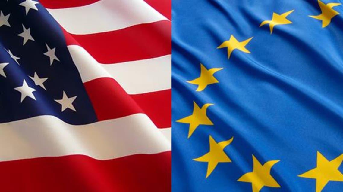 علم إيران والاتحاد الأوروبي