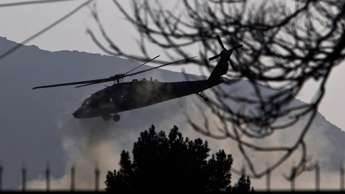 A British military helicopter takes off from Kabul. (Reuters)