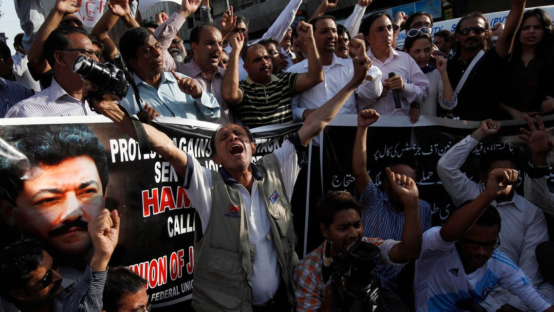 Pakistani journalists and cameramen protested against the attack on television anchorperson Hamid Mir. (File photo: Reuters)