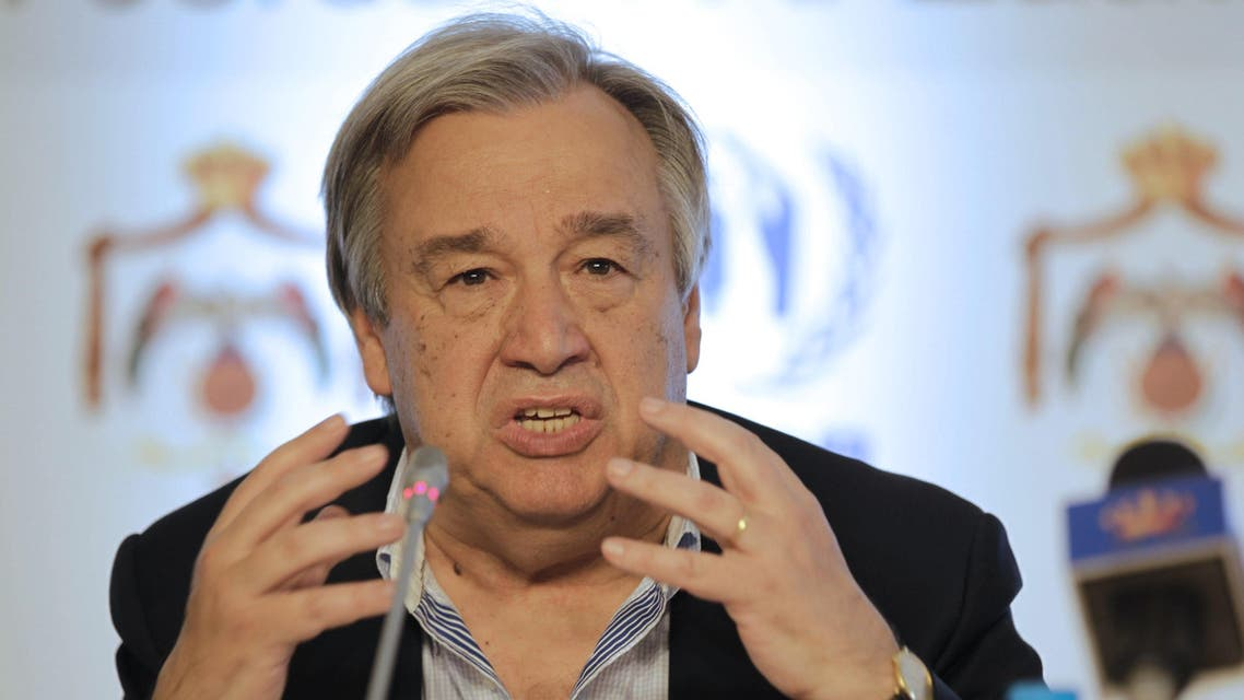 Antonio Guterres, United Nations High Commissioner for Refugees (UNHCR), speaks during the press conference following a meeting at the Zaatari refugee camp. (AFP)