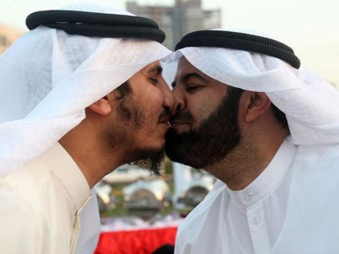 Nose kiss anyone how the gulf arab greeting has evolved al former kuwaiti mps mubarak al walan and bader al dahoum give each other a nose kiss during a gathering in eid al adha afp m4hsunfo