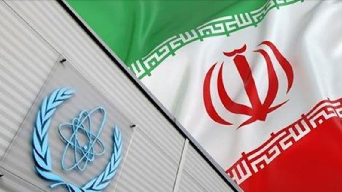 شعار الوكالة الذرية وعلم إيران