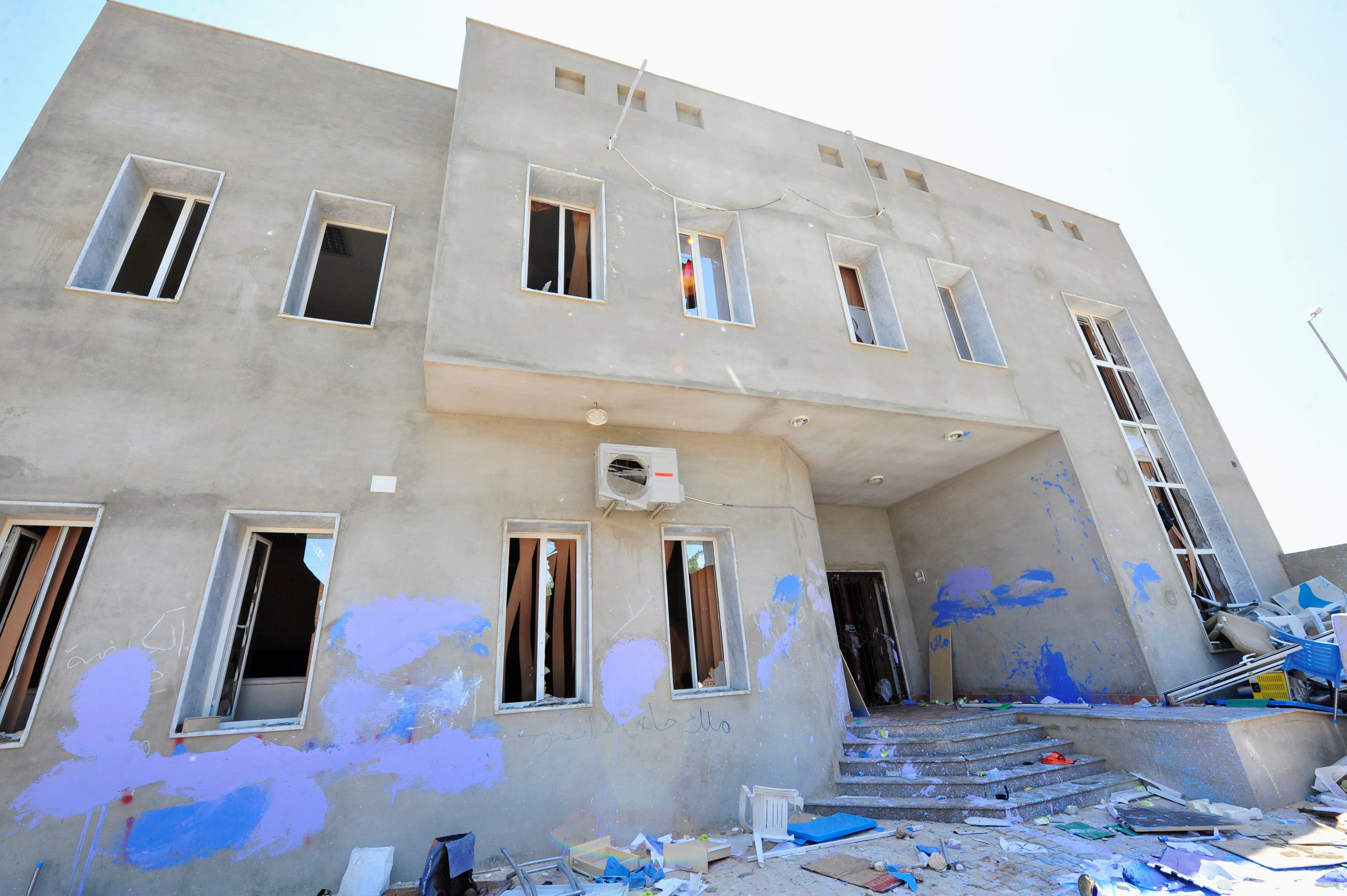 The headquarters of the Muslim Brotherhood, destroyed by protesters against the the killing of lawyer and prominent Libyan political activist Abdelsalam al-Mosmary, are seen in Benghazi July 27, 2013.  (Reuters)