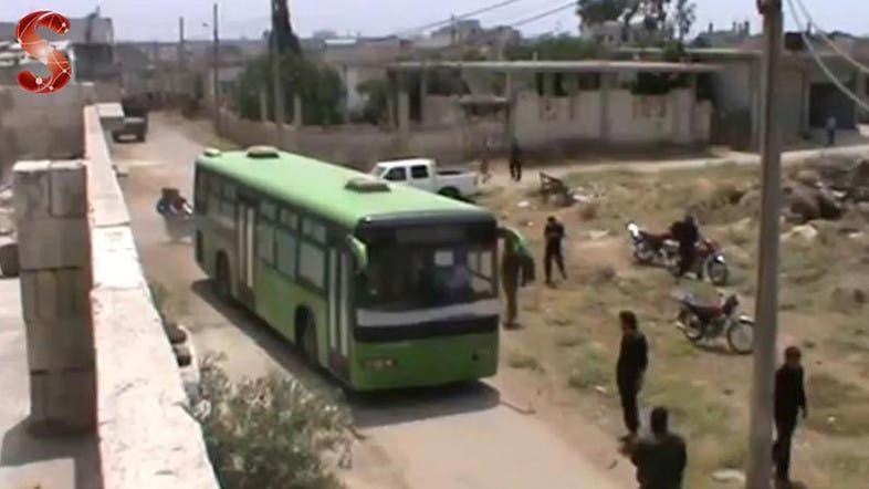 خروج المسلحين تنفيذاً لاتفاق هدنة هدنة حمص