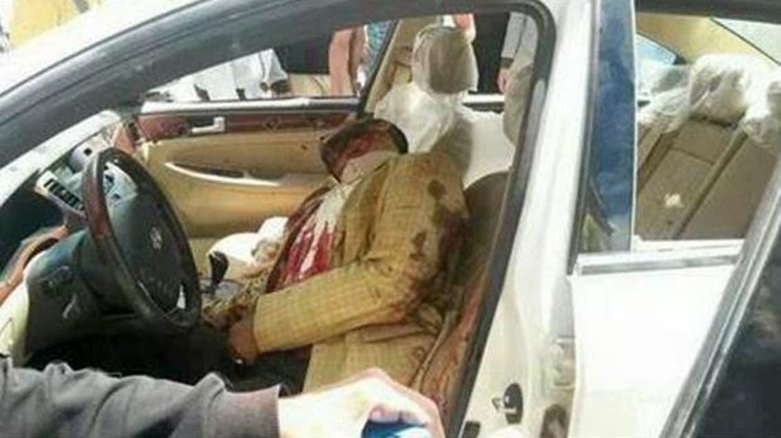 العقيد إبراهيم السنوسي عقيلة بعد اغتياله داخل سيارته