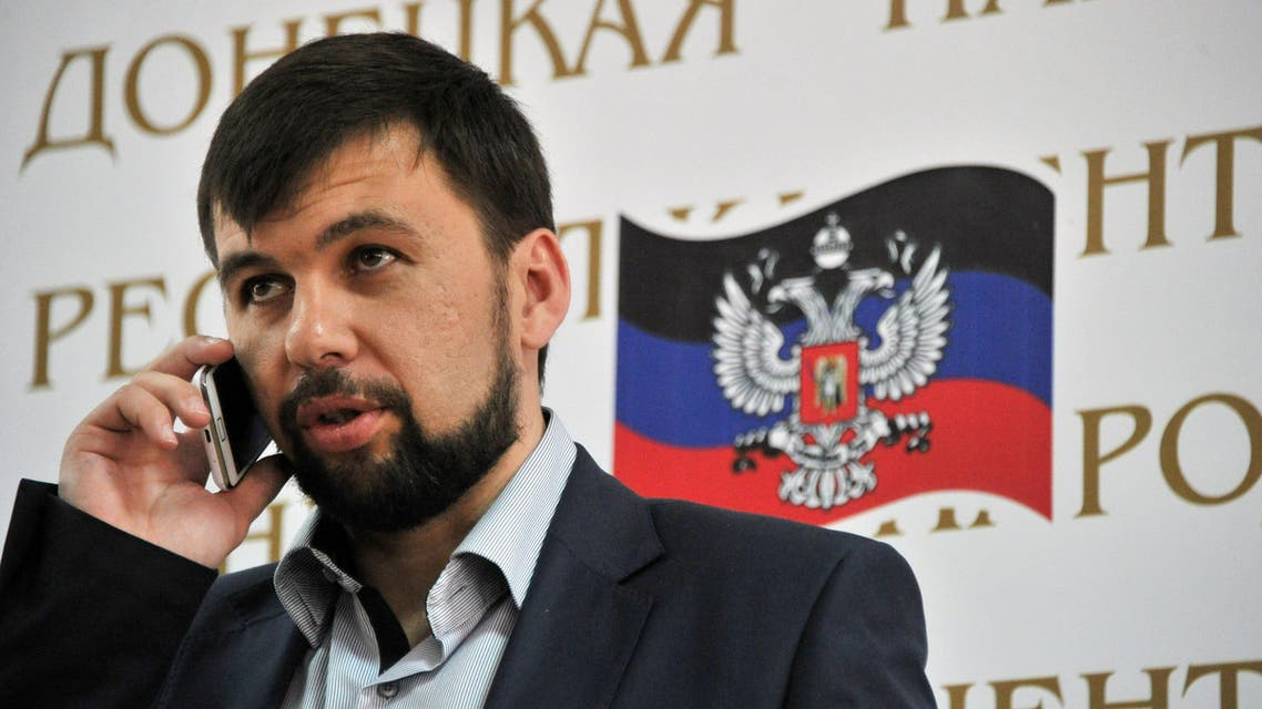 Denis Pushilin, the self-styled governor of the so-called 'People's Republic of Donetsk' stands holding a press conference in Donetsk on May 12, 2014. (AFP)