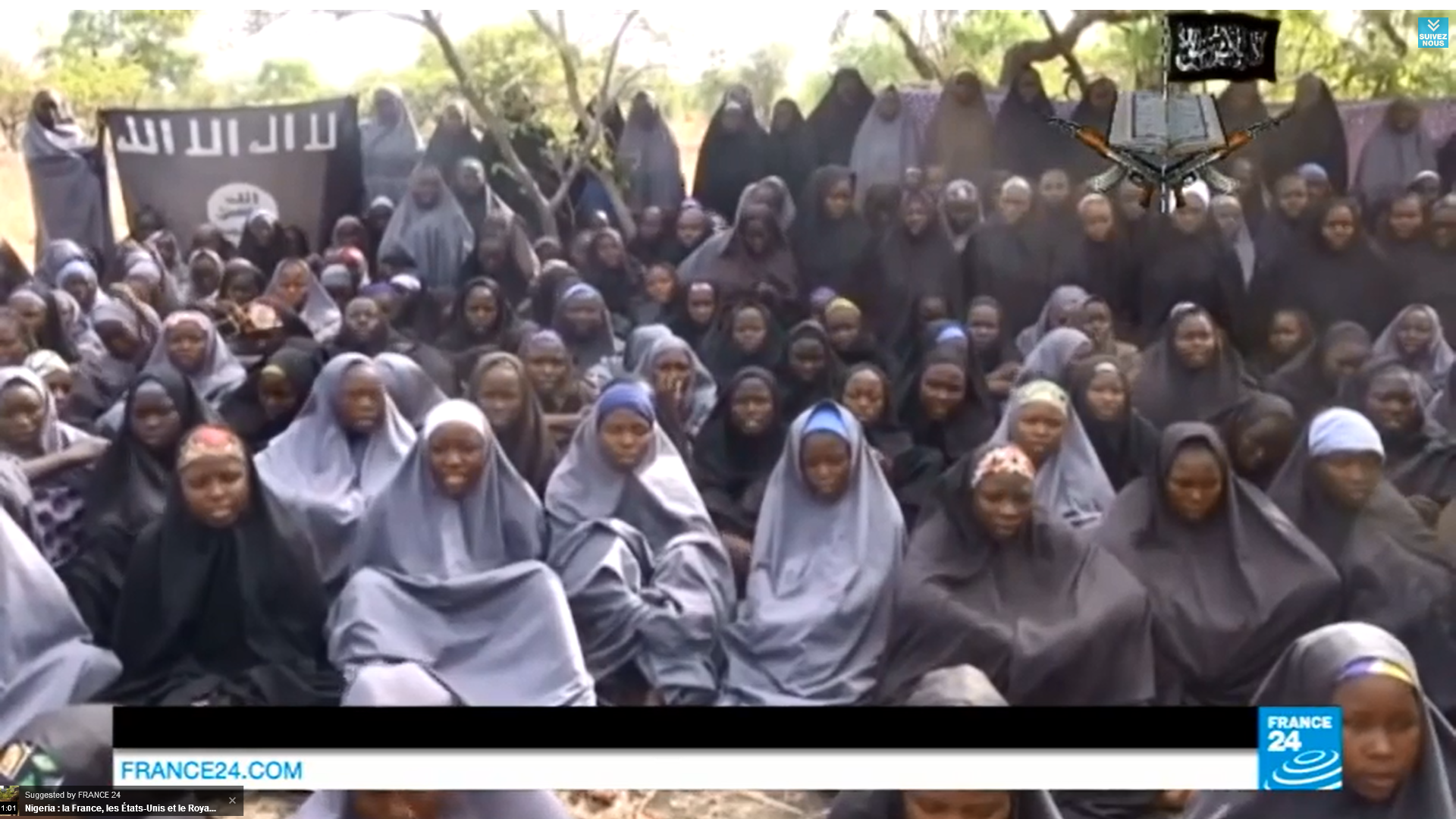 A still from the video released by Boko Haram, showing the abducted schoolgirls.  (Youtube grab)