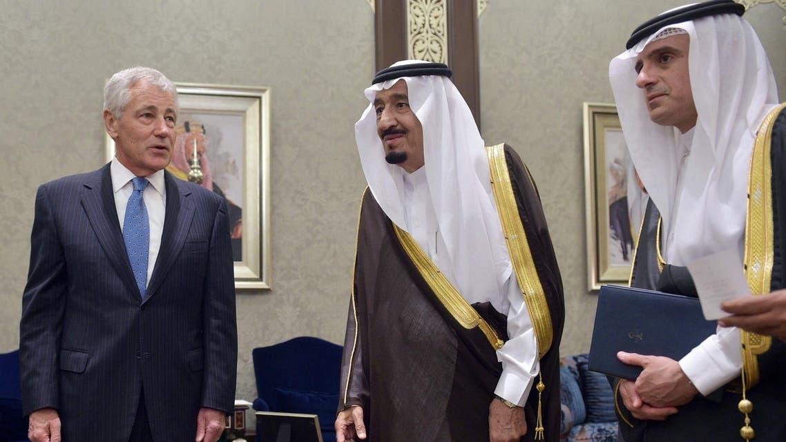 U.S. Defense Secretary Chuck Hagel (L) chats with Saudi Crown Prince Salman bin Abdulaziz al-Saud. (Reuters)